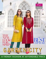 Garden City Vol 9 Heavy Rayon Print Straight Kurti