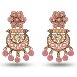 Party Wear Traditional Women Pink Floral Pattern Beaded Drop Earring