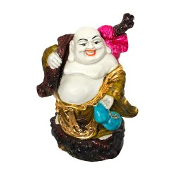 Polyresin Laughing Buddha Statue with Sack Bag/ Potli