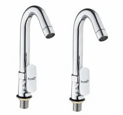 Brass Opal Swan Neck Taps For Sink/ Wash Basin 360 Degree Moving, Chrome Finish - Set Of 2