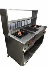 Stainless Steel Double Gas Burner, Size: 5*2 Feet (l*w)