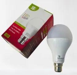 Aluminum Cool White 18 Watt LED Bulb, For Home, Base Type: B22