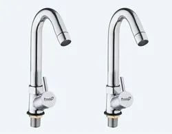 Brass Turbo Swan Neck Taps For Sink/ Wash Basin 360 Degree Moving, Chrome Finish - Set Of 2
