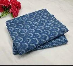 Printed Blue Cotton Fabric Designer Suit