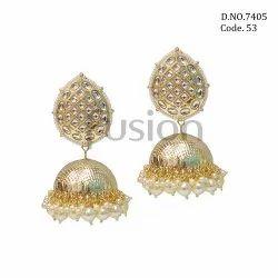 Fusion Arts Pearl Kundan Jhumka Earrings