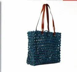 Mix Rope Handle Handicraft Sabai Sea Kauna Grass Shopping Bag, Size: 14x12x5