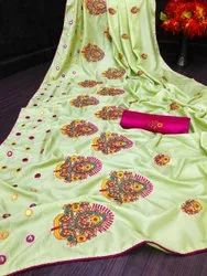 Festive Wear Printed Silk Cotton Embroidery Saree, 6.3 m (with blouse piece)