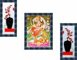 Synthetic Wood Durga Maa Canvas Painting, Size: 14x11 Inch And 14x6 Inch