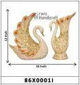 Swan Pair Polyresin Flower Vase