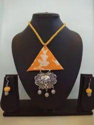 Triangle Yellow Fabric Jewellery