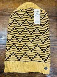 Stripe Woolen Men Yellow Pattern Cap, Size: Free