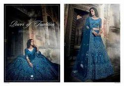 Cobalt Blue Art Silk Lehenga Choli With Thread, Zarkan, Zari And Sequins Work(pre-order)