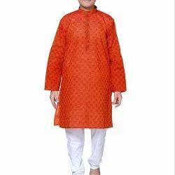 Festive Wear Printed Kid Orange Kurta Pajama Set, Size: 20