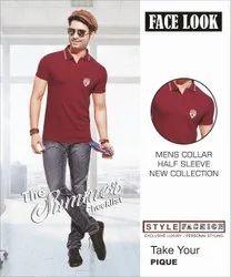 Polo Neck Half Sleeve Mens Collar T Shirts, Size: M,L