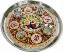 Nirmala Handicrafts Meenakari Steel Pooja Thali With Diya & Insense Holder