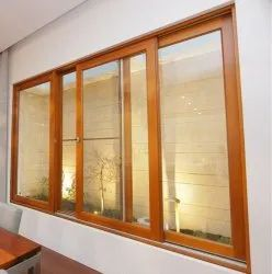 Powder Coating Wooden Sliding Window, For Home