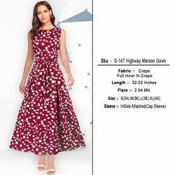 Ladies Maroon Printed One Piece Dress