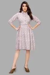 3/4th Sleeves Printed Cotton Short Dress