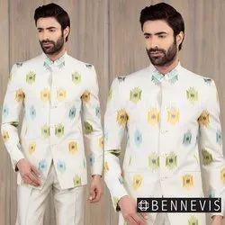 Wedding Fawn Embroidered Linen Jodhpuri suit for Men