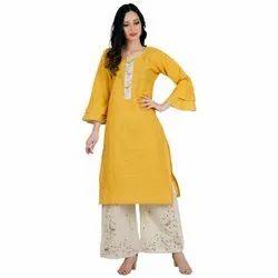Ladies Designer Yellow Kurtis With Palazzo