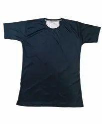 Round Half Sleeve Men Navy Blue T Shirt, Size: Medium