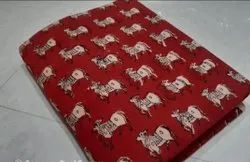Red Hand Block Printed Cotton Unstitched Suit Fabric