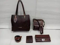 Female Brown Leather 5 Pcs Combo Set, For Office