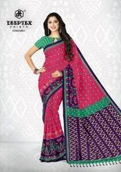 Deeptex Casual Wear Ikkat Print Cotton Sarees In Wholesale, With Blouse, 6.3 M