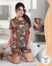 Female Printed Satin Shorts Night Suit