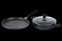 Kadhai,Dosa Tawa Aluminium Non Stick Cookware Set, For Home, Size: 24,25.5 Cm