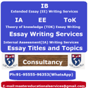 IB Theory of Knowledge Essay Writing Services