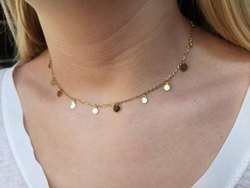 Dangle Choker Necklace With Simple Circle