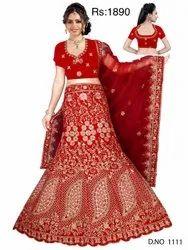 Embroidered Semi-Stitched Ladies Jacquard Chanderi Lehenga Choli