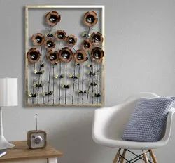 Brown Metal Daisy Decorative Wall Frame, For Decoration, Packaging Type: Box