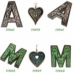 Hand Carved Vintage Style  Wooden Letters Alphabets Cutouts Shapes For Home Decor