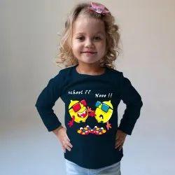 Think Cotton Kids Girl Navy Blue Printed T Shirt