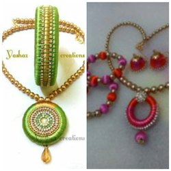 silk thread chain and bangle set