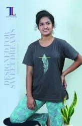 Talal Half Sleeve Ladies Cotton Pajama Set, Size: Medium