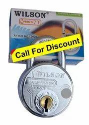Wilson With Key Round Padlock Push Lock 67mm, Chrome