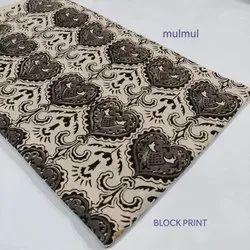 Mulmul Block Print Cotton Fabric