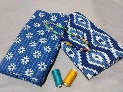 Printed Blue Cotton Suit For Women