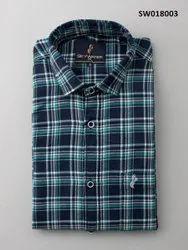 Sky Water Collar Neck Men Cotton Check Shirt