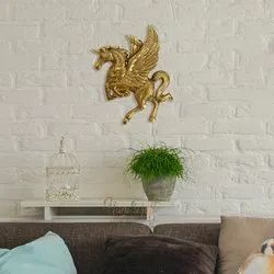 Golden Aluminium Horse Wall Hanging, For Gift, Size: 22*19*1