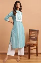 Janasya Women's Green Cotton Blend Kurta With Palazzo(J0130)