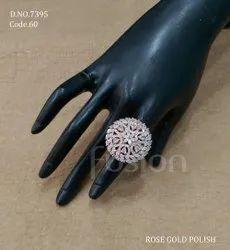 Fusion Arts Rose Gold Polish American Diamond Finger Ring