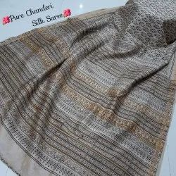 New Latest Attractive Collection Bagru Hand Block Printed Pure Chanderi Silk Saree.
