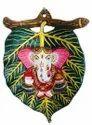 Nirmala Handicrafts Metal Painted Leaf Ganesha Home Wall Decor Wall Hanging Door Decorative