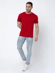 Plain Half Sleeve Red Round Neck T-Shirt