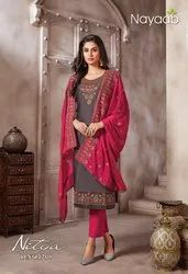 Nayaab Jam Satin Heavy Embroidered Suit, Dry clean