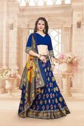 Navy Blue Patola Silk Saree, Dry Clean, 6.3 M (with Blouse Piece)